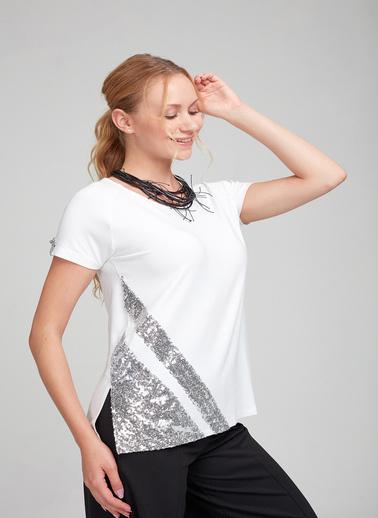 Optique Knitwear Pul Payetli Bisiklet Yaka Kısa Kol Penye Bluz Beyaz